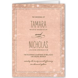 Wedding Program Cards: Sparkly Lights Wedding Program, Pink, 5x7 Folded Program