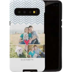 Samsung Galaxy Cases: Playful Patterns Chevron Heart Samsung Galaxy Case, Silicone liner case, Matte, PHONE_GALAXY_S10_5G, Blue,