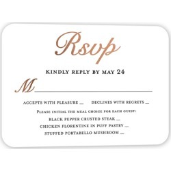 RSVP Cards: Polished Ceremony Wedding Response Card, Rounded Corners, rosegoldfoil found on Bargain Bro Philippines from shutterfly.com for $27.30