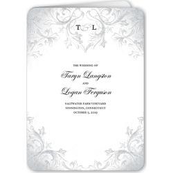 Wedding Program Cards: Faded Scroll Wedding Program, Grey, 5x7 Folded Program