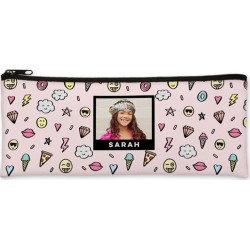 Pencil Cases: Emoji Everywhere Pencil Case, White