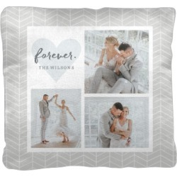 Pillows: Herringbone Heart Collage Pillow, Cotton Weave, Pillow (Ivory), 16 x 16, Single-sided, Grey found on Bargain Bro from shutterfly.com for USD $34.18