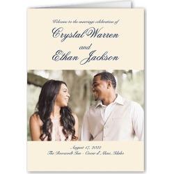 Wedding Program Cards: Minimal Script Wedding Program, Beige, 5x7 Folded Program