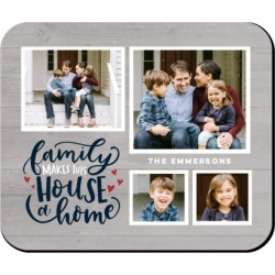 Mouse Pads: Family Makes a Home Mouse Pad, Rectangle, Gray found on Bargain Bro from shutterfly.com for USD $11.38