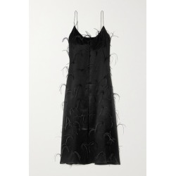 Michael Lo Sordo - Feather-embellished Silk-satin Maxi Dress - Black found on MODAPINS from NET-A-PORTER UK for USD $726.54