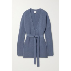 Max Mara - + Leisure Belted Ribbed Cotton-blend Cardigan - Blue found on Bargain Bro UK from NET-A-PORTER UK