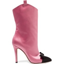 Alessandra Rich - Bow-embellished Two-tone Satin Ankle Boots - Baby pink found on MODAPINS from NET-A-PORTER for USD $760.00