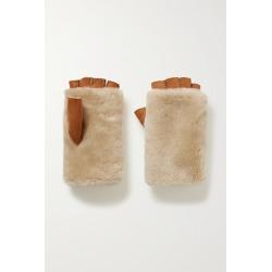 Agnelle - Bella Shearling Fingerless Gloves - Light brown found on MODAPINS from NET-A-PORTER for USD $88.20