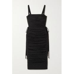 Dolce & Gabbana - Lace-up Polka-dot Stretch-silk Chiffon Midi Dress - Black found on Bargain Bro India from NET-A-PORTER for $3445.00
