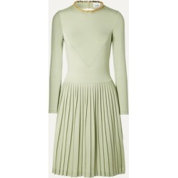 Burberry - Chain-embellished Open-back Pleated Silk-blend And Jersey Dress - Light green
