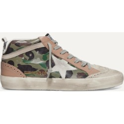 Golden Goose - Mid Star Distressed Camouflage-print Leather And Suede Sneakers - Army green found on Bargain Bro UK from NET-A-PORTER UK