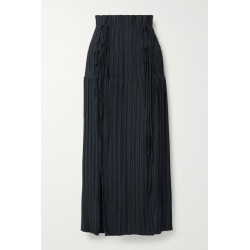 Dion Lee - Tie-detailed Plissé-crepe Maxi Skirt - Midnight blue found on MODAPINS from NET-A-PORTER for USD $690.00