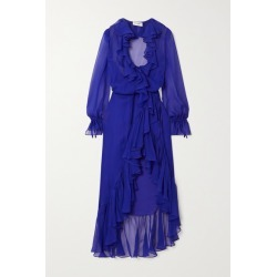 SAINT LAURENT - Ruffled Silk-chiffon Wrap Midi Dress - Blue found on Bargain Bro UK from NET-A-PORTER UK