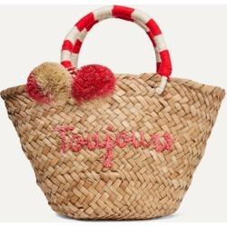 Kayu - St Tropez Mini Pompom-embellished Embroidered Woven Straw Tote - Neutral found on MODAPINS from NET-A-PORTER for USD $85.00