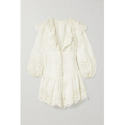 Zimmermann - Bellitude Ruffled Broderie Anglaise-trimmed Swiss-dot Linen Mini Dress - Ivory found on MODAPINS from NET-A-PORTER UK for USD $908.04
