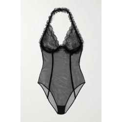 SAINT LAURENT - Velvet And Leavers Lace-trimmed Stretch-tulle Halterneck Bodysuit - Black found on Bargain Bro UK from NET-A-PORTER UK