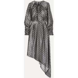 Dodo Bar Or - Melodi Tie-neck Asymmetric Metallic Silk-blend Jacquard Dress - Silver found on MODAPINS from NET-A-PORTER for USD $456.00