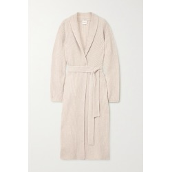 Le Kasha - Valence Belted Ribbed Cashmere Cardigan - Beige found on MODAPINS from NET-A-PORTER for USD $1800.00