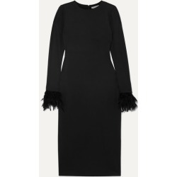 Alice Olivia - Debora Feather-trimmed Stretch-crepe Dress - Black found on MODAPINS from NET-A-PORTER for USD $238.00