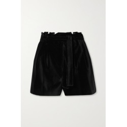 Alice + Olivia - Laurine Belted Velvet Shorts - Black found on MODAPINS from NET-A-PORTER UK for USD $365.08