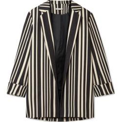 Alice Olivia - Neta Striped Cotton-blend Blazer - Black found on MODAPINS from NET-A-PORTER for USD $330.00