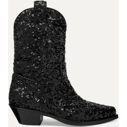 Dolce & Gabbana - Sequined Leather Ankle Boots - Black found on Bargain Bro UK from NET-A-PORTER UK