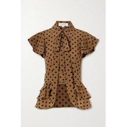 Michael Kors Collection - Pussy-bow Ruffled Polka-dot Silk-crepe Top - Light brown found on Bargain Bro India from NET-A-PORTER for $1250.00