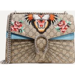 9e82fc95a68a Gucci - Dionysus Medium Appliquéd Printed Coated-canvas And Suede Shoulder  Bag - Beige found