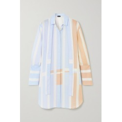 Akris - Pussy-bow Striped Woven Mini Shirt Dress - Blue found on MODAPINS from NET-A-PORTER for USD $774.00