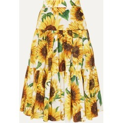 Dolce & Gabbana - Tiered Floral-print Cotton-poplin Skirt - Yellow found on Bargain Bro India from NET-A-PORTER for $458.00