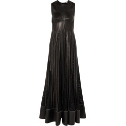 Loewe - Pleated Lace-trimmed Leather Maxi Dress - Black found on MODAPINS from NET-A-PORTER UK for USD $3178.72