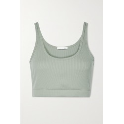 SKIN - India Cropped Ribbed Stretch-pima Cotton Jersey Top - Green found on Bargain Bro India from NET-A-PORTER for $60.00