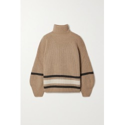 Loro Piana - Oversized Striped Cashmere Turtleneck Sweater - Camel found on MODAPINS from NET-A-PORTER for USD $2350.00