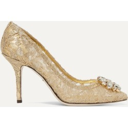 Dolce & Gabbana - Crystal-embellished Corded Lace Pumps - Gold found on Bargain Bro UK from NET-A-PORTER UK