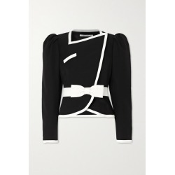 Alessandra Rich - Double-breasted Belted Two-tone Wool Jacket - Black found on MODAPINS from NET-A-PORTER for USD $909.00