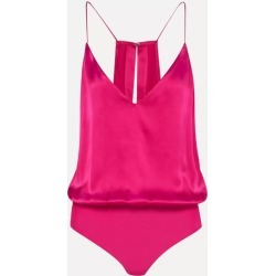 Cami NYC - The Lisa Silk-charmeuse Bodysuit - Fuchsia found on MODAPINS from NET-A-PORTER UK for USD $226.60