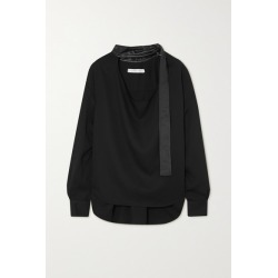 Christopher Esber - Leather-trimmed Voile Blouse - Black found on MODAPINS from NET-A-PORTER for USD $730.00