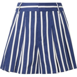 Alice Olivia - Scarlet Pleated Striped Linen-blend Shorts - Blue found on MODAPINS from NET-A-PORTER for USD $159.00