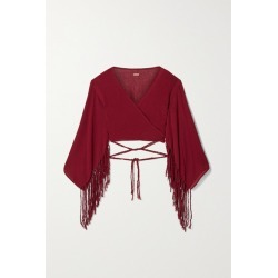 Caravana - + Net Sustain Naira Cropped Fringed Cotton-gauze Top - Claret found on MODAPINS from NET-A-PORTER UK for USD $294.02