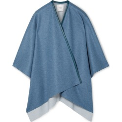 Agnona - Leather-trimmed Cashmere Cape - Blue found on MODAPINS from NET-A-PORTER for USD $1990.00