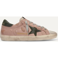 Golden Goose - Superstar Distressed Leather And Suede Sneakers - Blush found on Bargain Bro UK from NET-A-PORTER UK
