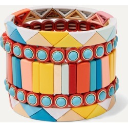 Roxanne Assoulin - Cinque Terre Set Of Five Enamel Bracelets - Yellow