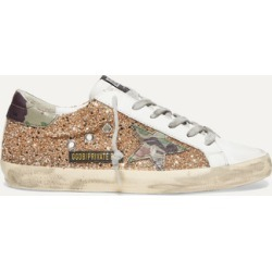 Golden Goose - Superstar Glittered Distressed Leather Sneakers - IT36 found on Bargain Bro UK from NET-A-PORTER UK