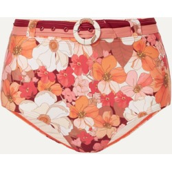 Peony - Net Sustain Belted Floral-print Bikini Briefs - Red found on Bargain Bro India from NET-A-PORTER for $105.00