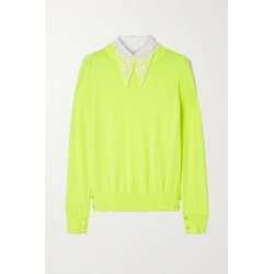 Adam Lippes - Poplin And Crocheted Lace-trimmed Wool Sweater - Yellow found on MODAPINS from NET-A-PORTER UK for USD $983.15