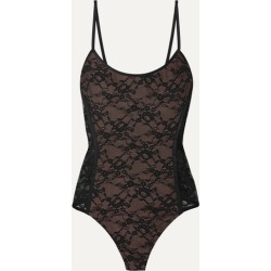 Alix - Minna Satin-trimmed Stretch-lace Thong Bodysuit - Black found on MODAPINS from NET-A-PORTER UK for USD $206.45