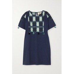 Figue - Lucia Embroidered Cotton Mini Dress - Navy found on MODAPINS from NET-A-PORTER for USD $270.00