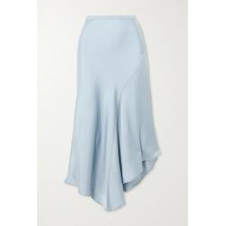 Anine Bing - Bailey Asymmetric Silk-satin Midi Skirt - Blue found on MODAPINS from NET-A-PORTER UK for USD $263.73