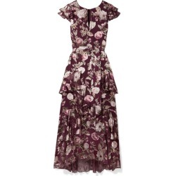 Alice Olivia - Jenny Tiered Floral-print Fil Coupé Chiffon Maxi Dress - Burgundy found on MODAPINS from NET-A-PORTER for USD $384.00