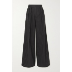 Max Mara - Orsola Pleated Pinstriped Stretch-wool Wide-leg Pants - Black found on Bargain Bro UK from NET-A-PORTER UK